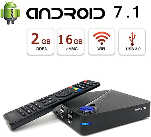 Android 7.1.2 TV Box [2G + 16G], Reproductor De Video Amlogic S905D Quad-Core 64-bit Cortex-A53, Bluetooth 4.0 / WLAN 2.4G / 5.0G / 4K HD/USB 3.0 Smart TV Box Android Set-Top Box: