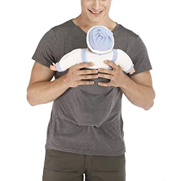 QQA Kangaroo Dad T-Shirt Pocket Cotton Breathable Casual Vest Multi-Function Clothes Baby Carrier Wrap Tank