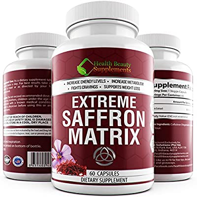 * EXTREME SAFFRON MATRIX * 100% Natural Appetite Suppressant For Men And Women – Supports Weight Loss - Purest Grade A+ Saffron - Insomnia Reducer - Saffron 8825 - Saffron Supplement For Depression