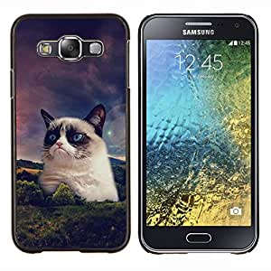 EJOOY---Cubierta de la caja de protección para la piel dura ** Samsung Galaxy E5 E500 ** --Divertido Grump gato de la raqueta siamés
