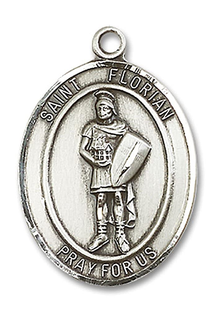 Heartland Engravable Mens Sterling Silver Saint Florian Oval Medal Choose Chain Customize