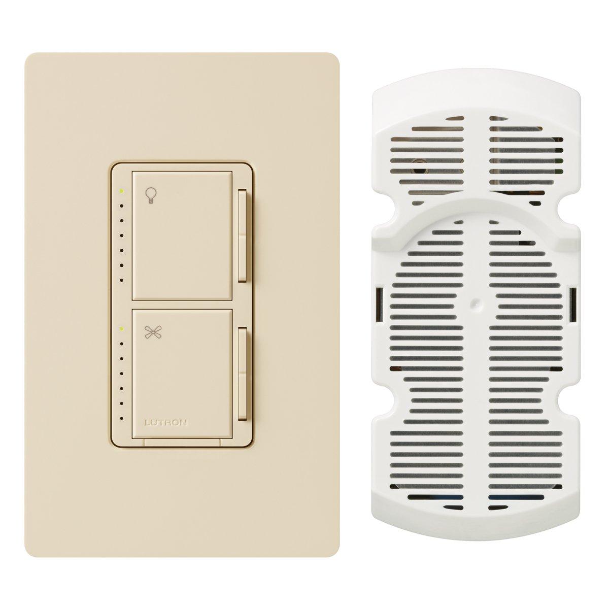 Lutron MA-LFQHW-LA Maestro 1-Amp 300-watt Single Pole Fan and Light Control, Light Almond