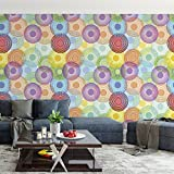 DeStudio 'Colorful Circle' Peel and Stick Wallpaper (Self Adhesive), Tile / 1.8 Sqft (41 cm X 41 cm) (Pack of 03)-14103