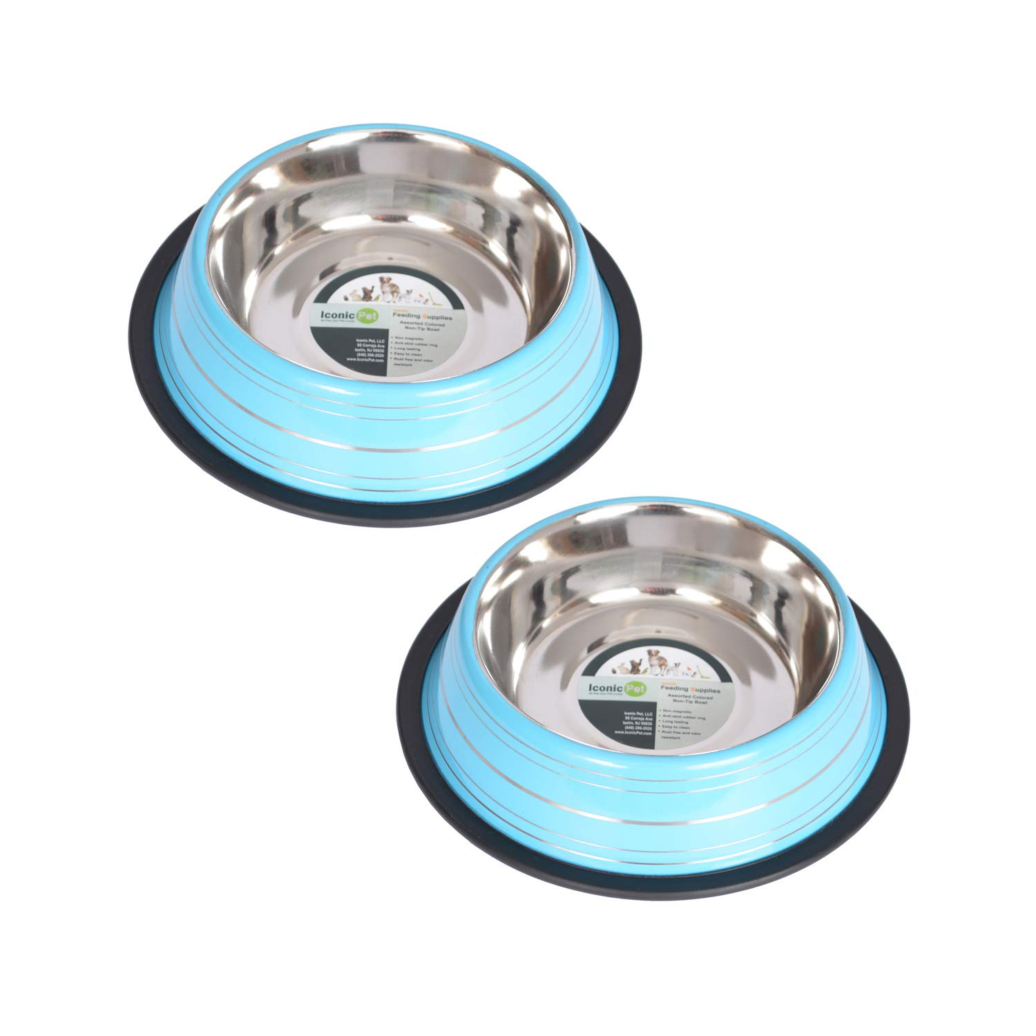 bluee 3 Cup 24 oz. bluee 3 Cup 24 oz. Iconic Pet 2 Pack color Splash Stripe Non-Skid Pet Bowl for Dog or Cat-bluee-24-Ounce-3 Cup
