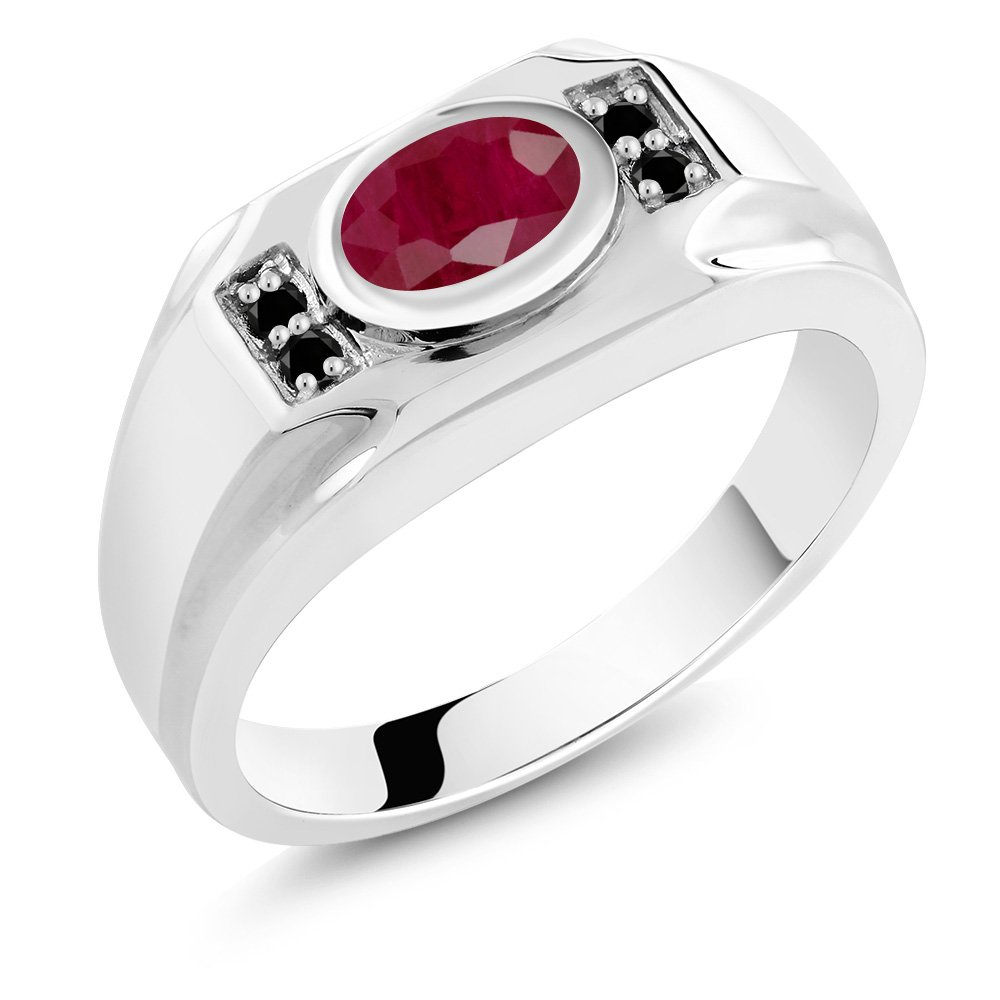 2.02 Ct Oval Red Ruby & Black Diamond 925 Sterling Silver Men's Ring (Ring Size 9)