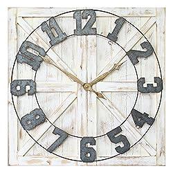 Stratton Home Décor S11545 Rustic Farmhouse Wall Clock, 31.50 W X 1.38 D X 31.50 H, Distressed White, Galvanized Metal, Gold, Black