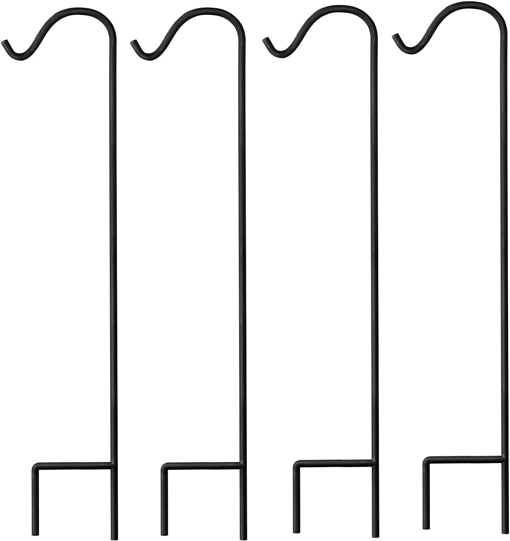 Gray Bunny Shepherd Hook, 48 Inch Black, Set of 4, Super Strong Premium Metal Hook for Weddings, Hanging Plant Baskets, Solar Lights Lanterns Bird Feeders Mason Jars & Plant Hangers