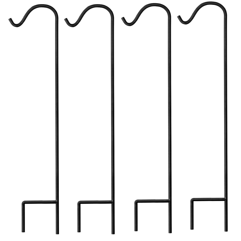 Graybunny Gb-6814Berger Crochet, 1.22m, 4-pack, Noir, épaisseur 1cm Super solide, résistante à la rouille Premium Crochet en métal, pour une utilisation à mariages, Plante à suspendre paniers lanternes, mangeoires et bien plus encore