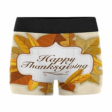 INTERESTPRINT Boxer Briefs Mens Underwear Happy Thanksgiving Day XS-3XL