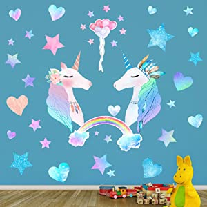 74 PCS Unicorn Bedroom Decor for Girls, Removable Wall Stickers for Kids, Unicorn Wall Decals for Girls Bedroom, Baby Nursery Decor, Birthday Christmas Gifts for Boys Girls