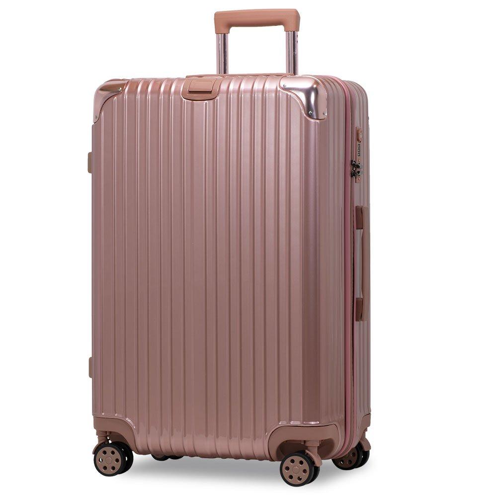 スーツケース アルミフレーム 機内持込~大型 軽量 超消音 ダブルキャスター 8輪 TSA キャリーケース キャリーバッグ B01N9IKCRM LL(一週間前後)-86L-ファスナー|ローズゴールド/ ローズゴールド/ LL(一週間前後)-86L-ファスナー