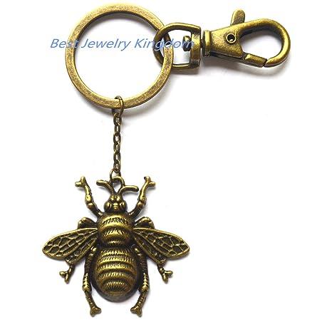 Llavero de bronce con diseño de insectos de abeja, llavero ...