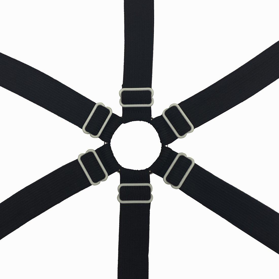 Toweter 3 Vie Nero Auivguiv 6 Lati Regolabile Elastico Ferma Lenzuola,Clip Lenzuola,Adatta per Tutti i Formato Rotondo e Quadrato Materassi