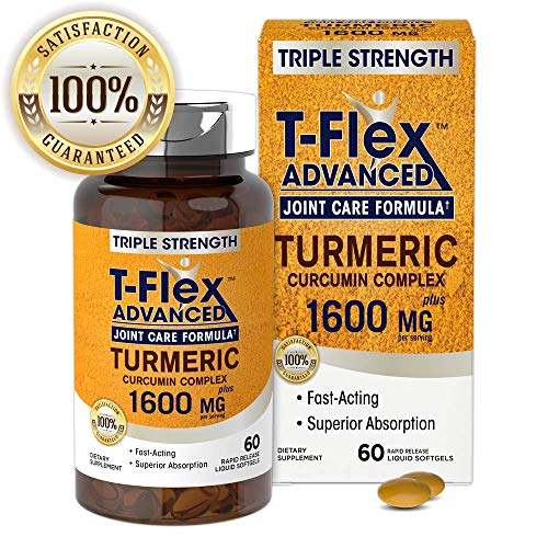 T-Flex Triple Strength Joint Care 60 Softgel Capsules | Turmeric Curcumin Complex 1600mg | Non-GMO, Gluten Free Supplement | by Princeton Research Health ()