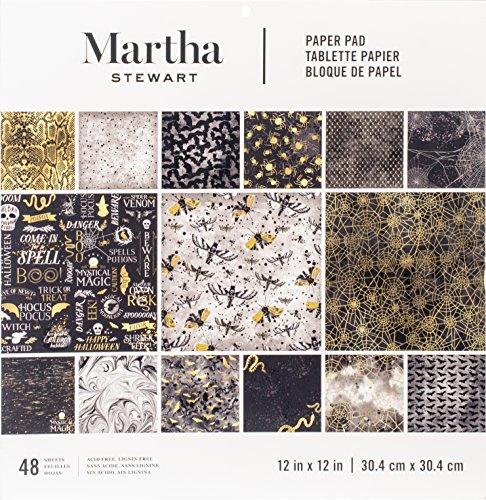 Halloween Scrapbooking Paper (Darice Martha Stewart Crafts Halloween Paper Pad Black and Gold Prints 12 X 12)