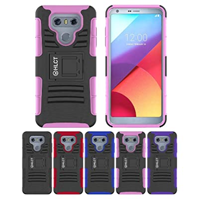 LG G6 Stand Case, HLCT Rugged Shock Proof Dual-Layer Case with Built-in Kickstand for LG G6 (Pink)