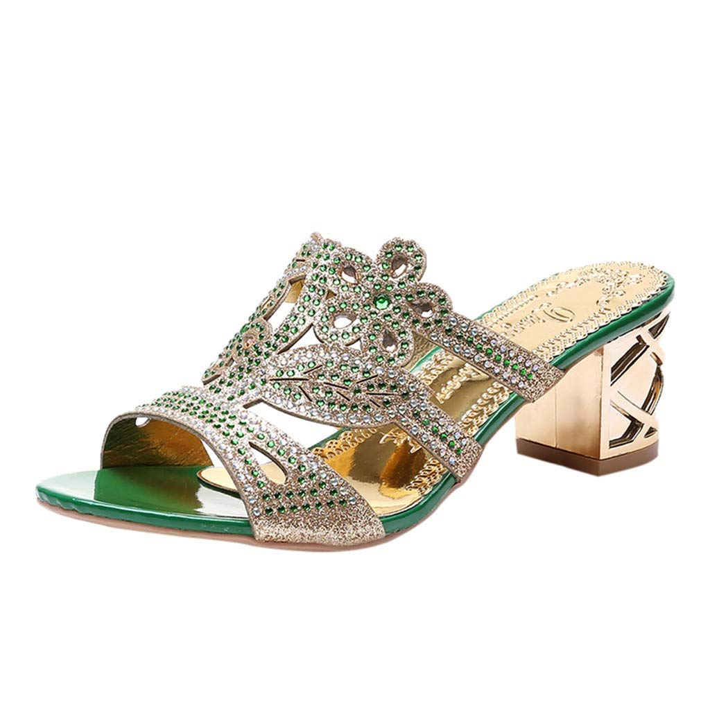 Women's High Heel Sandals Summer Bohemia Thick Heel Crystal Peep Toe Cutout Slipper Sandals Roman Casual Shoes Green