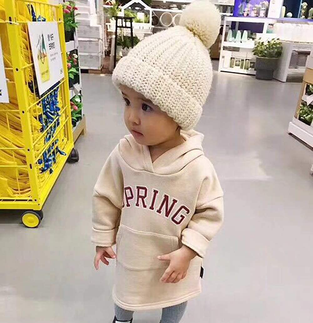 Vpogn Kids Toddler Girls Pompom Beanie Winter Hat Baby Cable Knit Hats Candy-Colored Caps