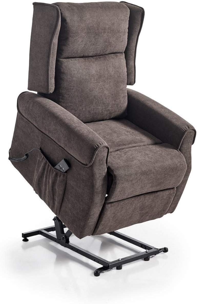 illón Relax, MILÁN, Sistema reclinable y Levanta-Personas motorizado, sillones, Cómodo Elegante Color Marrón, Gris (Marrón)