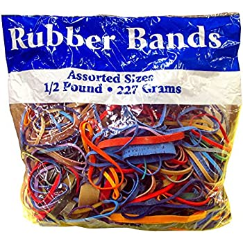 Alliance Rubber Bands Assorted Dimensions 227G/Approx. 400 Rubber Bands, Multi Color, 1/2 lb