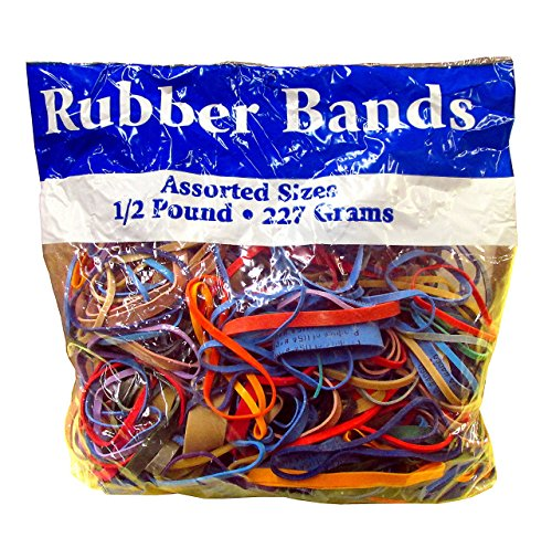 Alliance Rubber Bands Assorted Dimensions 227G/Approx. 400 Rubber Bands, Multi Color, 1/2 lb ()