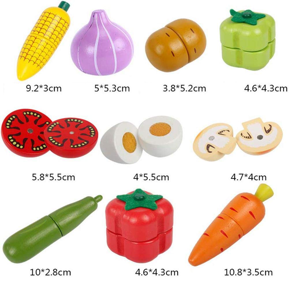 Gemüse aus Holz Obst Gemüse Spielzeug Lebensmittel Küche Kinderküche ädagogisches Lernen Spielzeug 24x19cm Küchenspielzeug Holz Gemüse mit Magnet 22-tlg. Rollenspiel Lernspielzeug für Kinder Lilalit