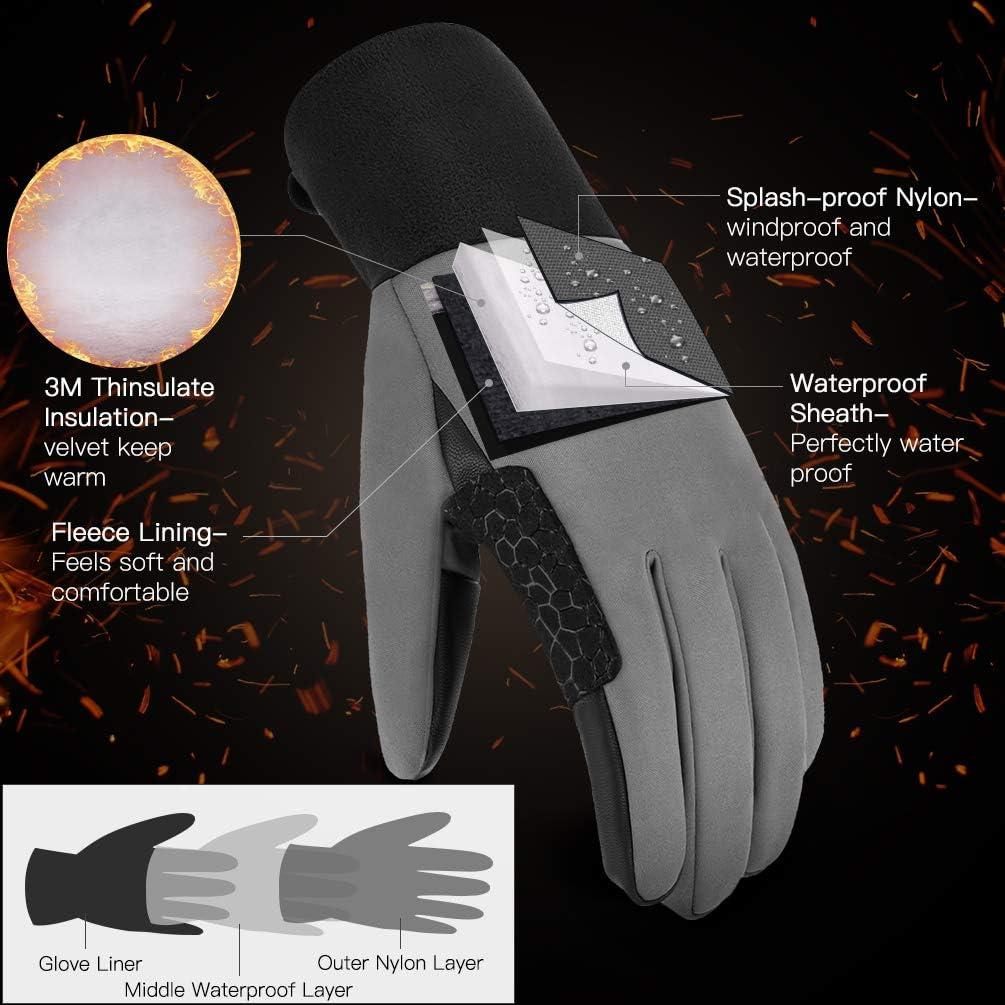 VBIGER Gants Hiver Impermeable Chaud Tactile Gants Sport V/élo Running Ski Randonn/ée pour Hommes et Femmes