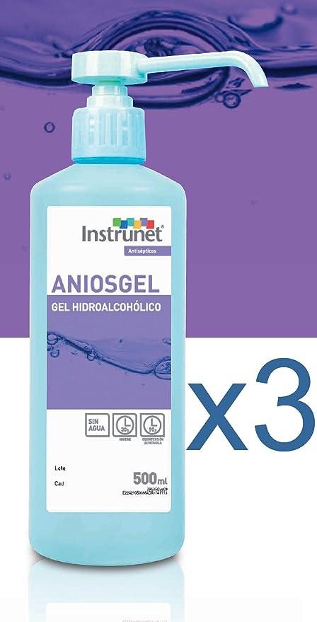 Limpiador desinfectante de manos Hidroalcohólico en Gel Aniosgel 500ml, Pack 3 unidades. Para la limpieza y desinfección de manos por fricción sin ...