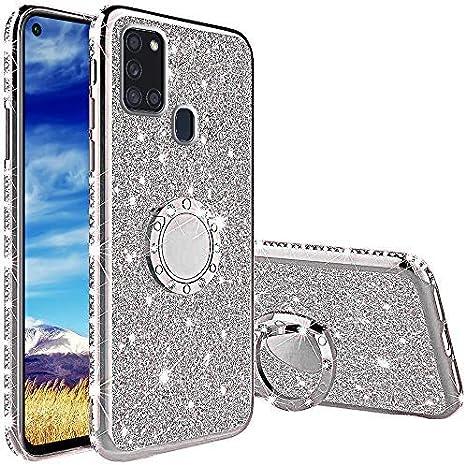 Funda para Samsung Galaxy A21S, Glitter Brillante Diamante con 360 Grado Anillo Kickstand Ultra Delgada Premium Fina Resistente Silicona TPU Doble Capa Anti Choques Protectora Carcasa - Plata