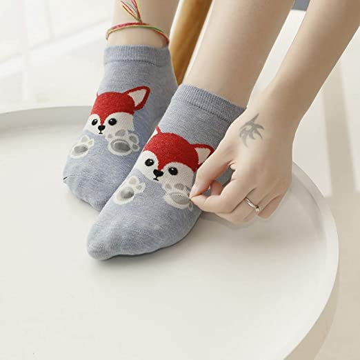 Amazon.com: Lessonmart Kawaii Short Socks Fashion Animal Zoo Cotton Socks Women Cute Lady Girls Low Cut Ankle Colorful Unisex Socks meias: Kitchen & Dining
