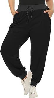 uxcell Women's Plus Size Drawstring Waist Contrast Color Jogger Pants