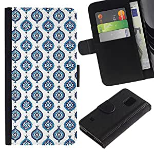 For Samsung Galaxy S5 V SM-G900,S-type® Blue White Wallpaper Paint - Dibujo PU billetera de cuero Funda Case Caso de la piel de la bolsa protectora
