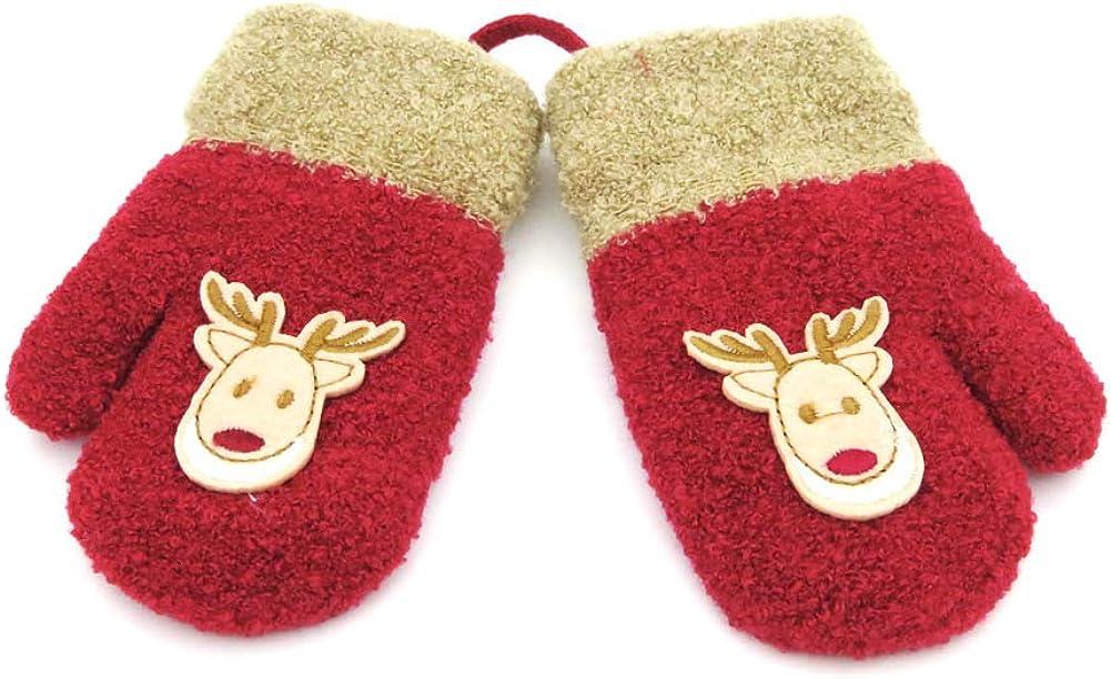 Newbeeler Toddler Gloves Winter 2-4Years Toddler Mittens Girl 1 Pair Kids Mittens Toddler Snow Gloves Red with Deer