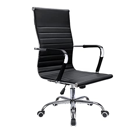 Devoko Ribbed Office Chair Mid Back Leather Height Adjustable Swivel Desk Chairs Ergonomic Executive Conference Task Chair with Arms Black