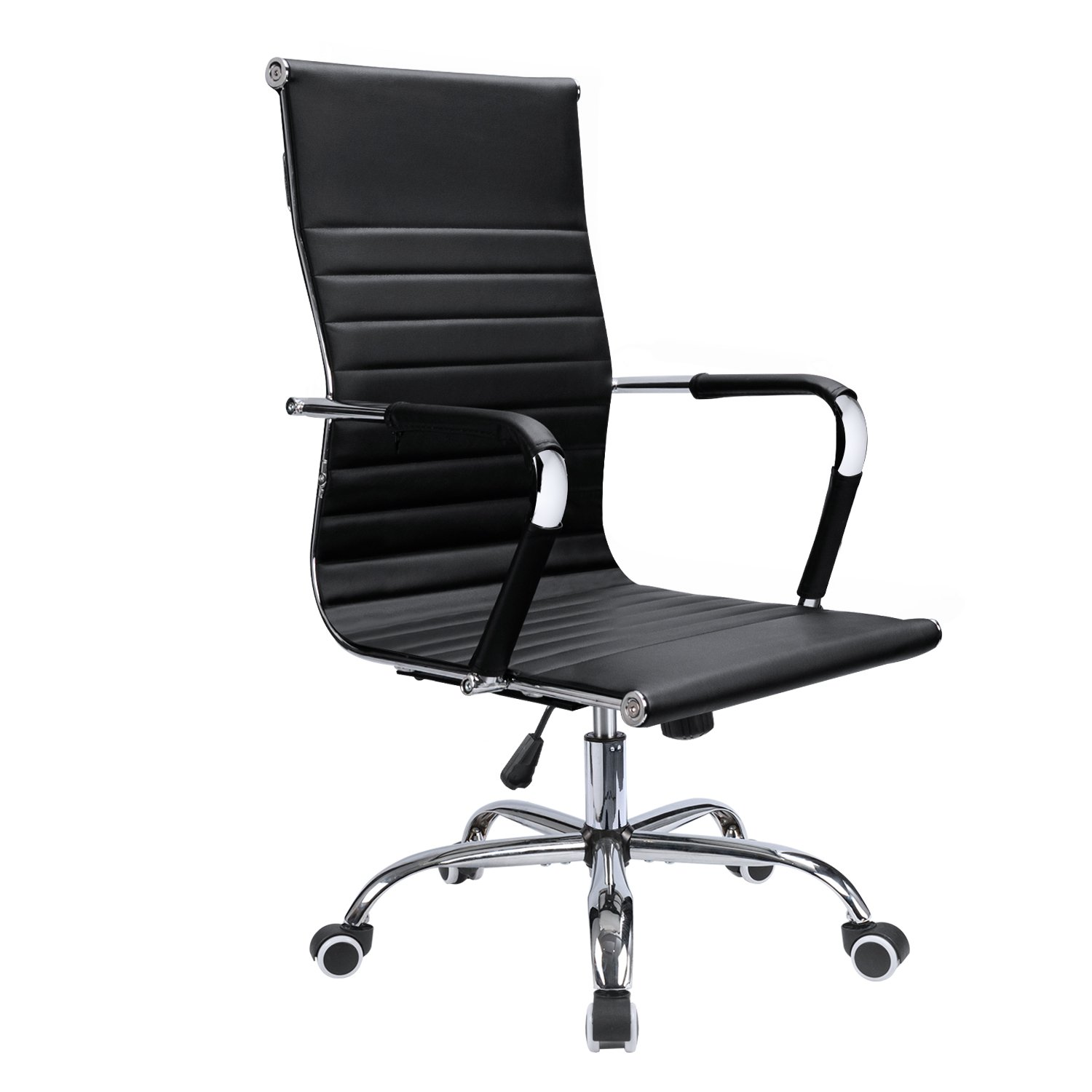 Devoko Ribbed Office Chair Mid Back Leather Height Adjustable Swivel Desk Chairs Ergonomic Executive Conference Task Chair with Arms (Black)