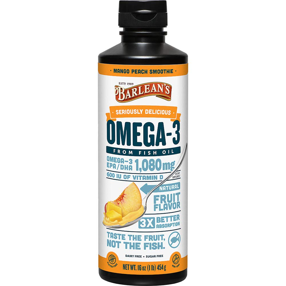 Barlean's Seriously Delicious Omega-3 Mango Peach Smoothie from Fish Oil with 1080mg of EPA/DHA - All-Natural Fruit Flavor, Non GMO, Gluten Free - 16-Ounce