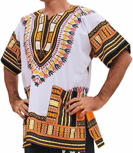 75da0dec599 RaanPahMuang Brand Unisex Bright African White Dashiki Cotton Shirt