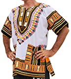 RaanPahMuang Brand Unisex Bright African White Dashiki Cotton Shirt #43 Light Yellow X-Small