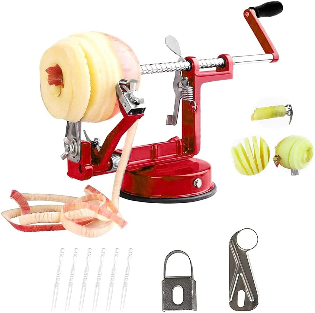 Apple Peeler,Apple Peeler Slicer Corer With Suction Base,Durable Heavy Duty Die Cast Magnesium Alloy Peelers 2 Extra Blades