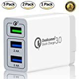 Galaxy S9 S8 S7 S6 Edge Plus Note 8 LG G2 G3 G4 Quick Charge 3.0 30W USB Charger with 3-Port USB for Samsung Adaptive Fast Charging for Up to 4x Faster Charging Premium Version