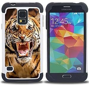 For Samsung Galaxy S5 I9600 G9009 G9008V - Roar Tiger Stripes Wild Animal Nature /[Hybrid 3 en 1 Impacto resistente a prueba de golpes de protecci????n] de silicona y pl????stico Def/ - Super Marley Shop
