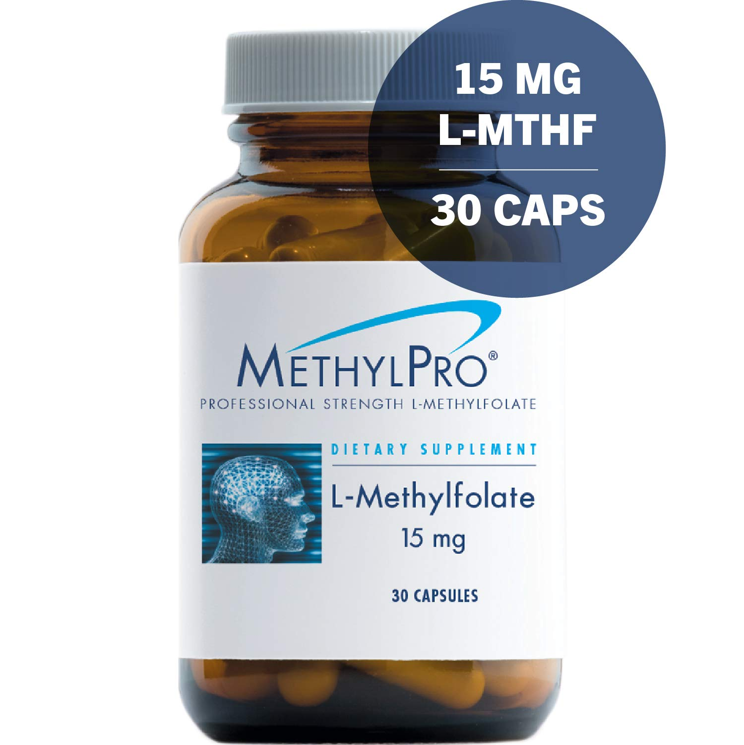 MethylPro 15mg L-Methylfolate 30 Capsules - No Fillers, Professional Strength 15000mcg Active Folate, 5-MTHF for Mood, Homocysteine Methylation + Immune Support, Non-GMO + Gluten-Free by MethylPro