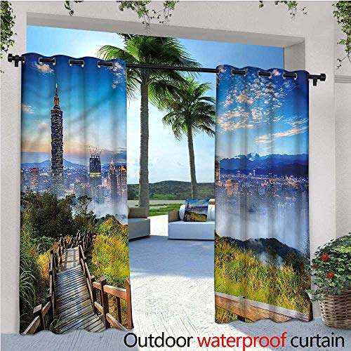 Scenery Outdoor Privacy Curtain for Pergola City Cosmopolitan Life Thermal Insulated Water Repellent Drape for Balcony W120 x ()