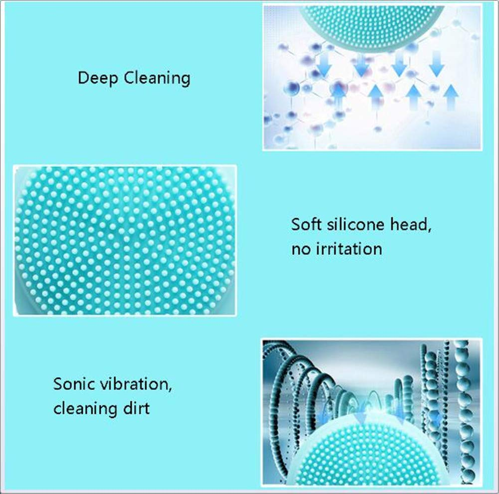 Electric Silicone Facial Deep Cleansing Brush Face Massager Pore Cleaning Relieve Facial Skin Problems IPX7 Level Waterproof by RSTJPG (Image #4)