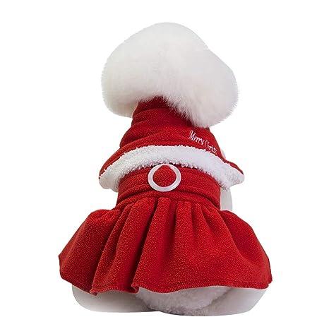 Holatee Navidad Disfraces Perro Pequeño Vestido El Botón Ropa de Traje de Abrigo Cálido Ropa de