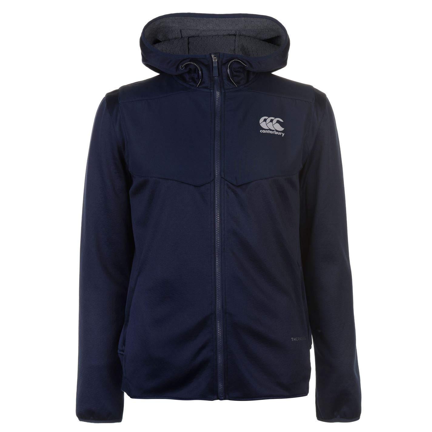 Canterbury Thermo Reg Fleece Full Zip Hoody Mens Blue Hoodie Top Sweatshirt