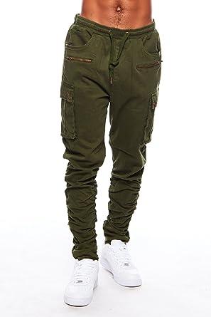 unbeatable price various design superior materials GENx Mens Urban Slim Fit Zipper Shirring Twill Cargo Jogger ...