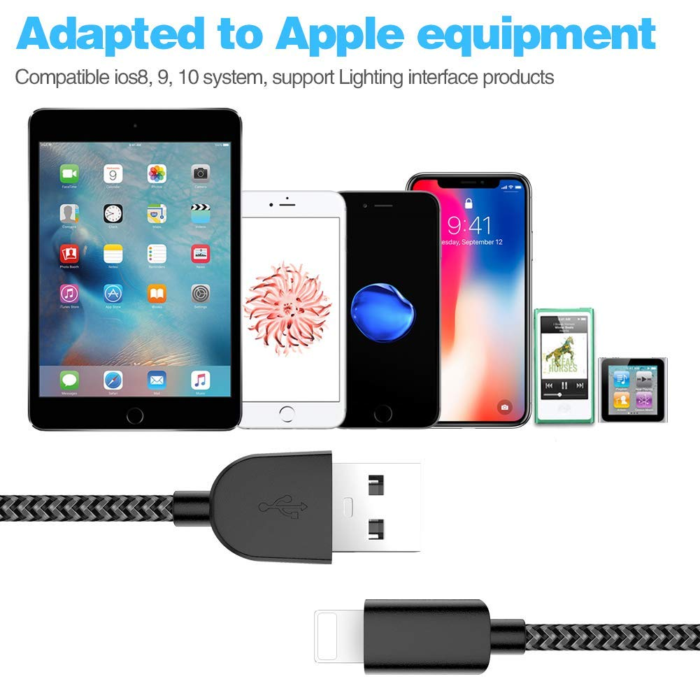 iPhone Charger AIOXQNL MFi Certified Lightning Cable 5 Pack?3//3//6//6//10FT Compatible iPhone Xs//Max//XR//X//8//8Plus//7//7Plus//6S//6S Plus//SE//iPad//Nan More-Black Renewed