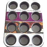 Prima Muffin Pan, Carbon, Black, 13.94 x 10.94 x 1.26 cm