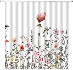 AMFD Watercolor Floral Shower Curtain Colorful Flowers Leaves Botanical Boho Stylish Unique Modern Fabric Bathroom Decor Set 72 x 72 Inches with Hooks